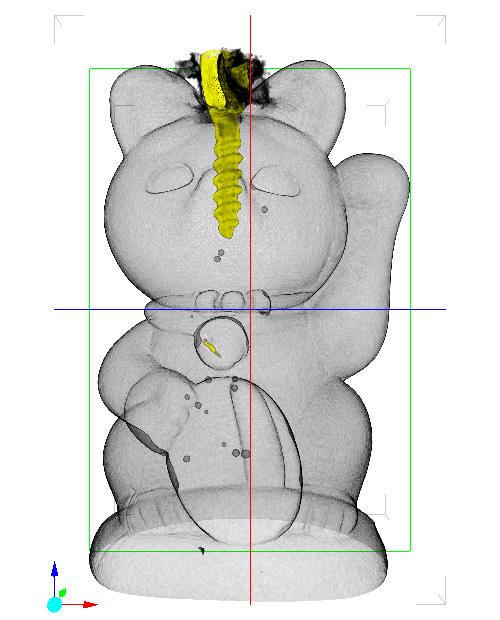 招き猫 X線CT画像 半透明 縦/横回転