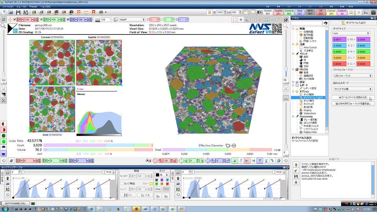 多孔質材料の画像解析例 サイズ別に5段階に分類して可視化/数値化