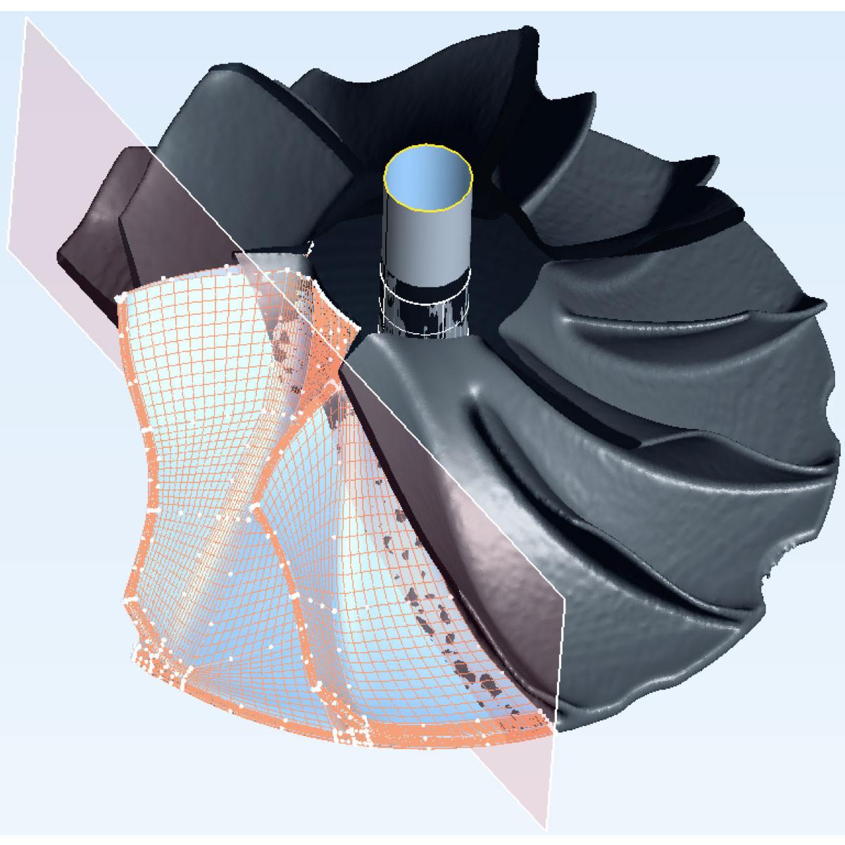 リバースエンジニアリング タービンブレード(3D/点群/ポリゴン/CAD)